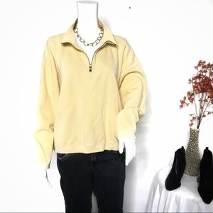 Tommy Bahama 1/4 zip Pale Yellow Sweatshirt Sz L